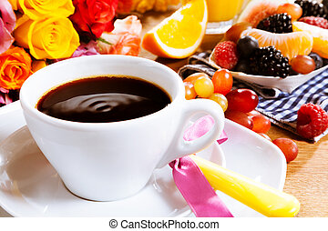 Valentines breakfast for a sweetheart with a cup of fresh...