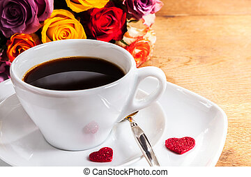 Morning coffee for a Valentines sweetheart with two red...