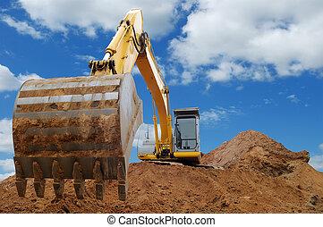 grävmaskin, lastare, bulldozer, Stor, hink