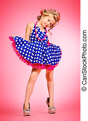 child in polka-dot dress - Pretty little girl in her mothers...