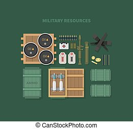 Military Resources Flat Design - Military resources flat...