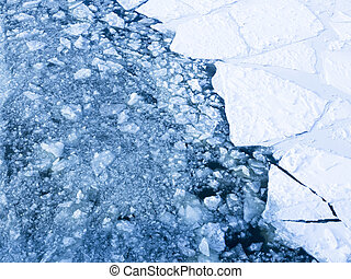 Ice on the river in the spring - beautiful ice cracked on...