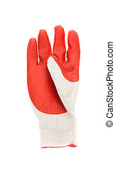 red rubber glove - Close up of red rubber glove Isolated on...