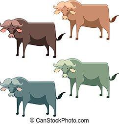 Set of buffalo - Vecor image of a Set of buffalo