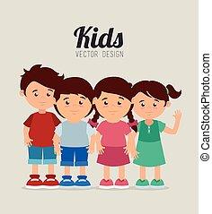 crianças, desenho, caricatura