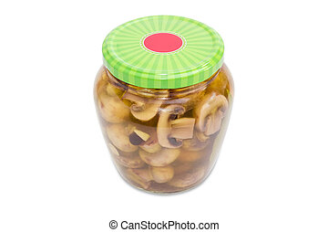 Pickled button mushrooms in glass jar with green screw cap...