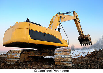 loader excavator - Excavator loader at construction site...