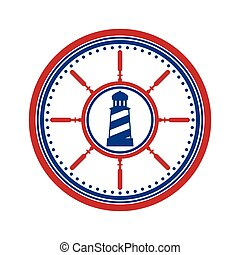 Lighthouse symbol on white