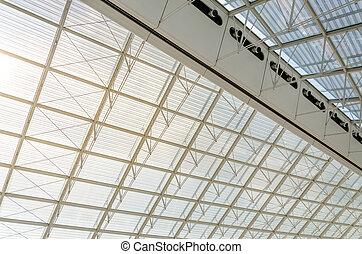 Charles, parís, De, detalle, techo, aeropuerto, estructura,...