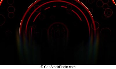 Red abstract arc lines and circles