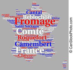 Variety of french cheeses word cloud illustration