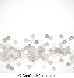 Science background vector - Science background with hexagons...