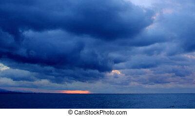 Sunrise over the Black Sea Pitsunda, Abkhazia, Full HD