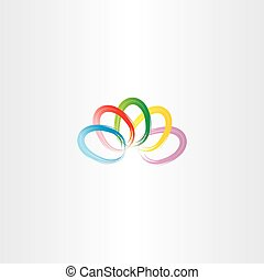 colorful easter eggs vector logo icon sign card