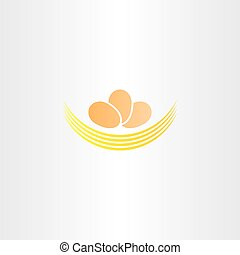 eggs in nest vector logo icon sign