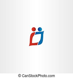 letter l and j people logo vector icon