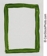 green frame painted on white canvas - hand painted green...