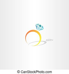 ring with diamond icon vector logo