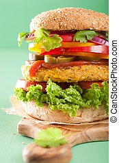 veggie chickpea and sweetcorn burger with pepper jalapeno...