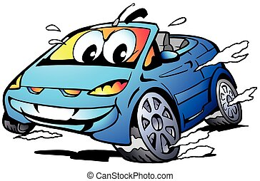 Blue Sports Car Mascot racing - Vector Cartoon illustration...
