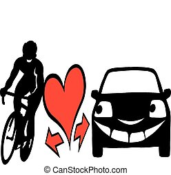 Biker and a car to be aware - Vector Cartoon illustration of...