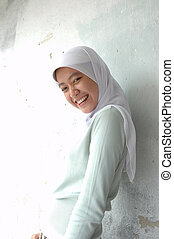 moslem girl - portrait of islamic southeast asian teenage...