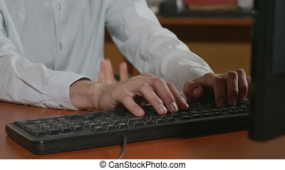 Man hands with third hand typing - Close-up of programmer...