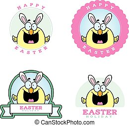 Cartoon Easter Chick Graphic - A cartoon illustration of a...