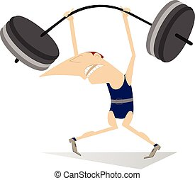 Weightlifter - Cartoon man is trying to lift a heavy weight