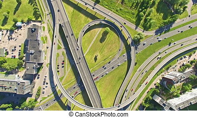 HD - Aerial view. Fast Traffic