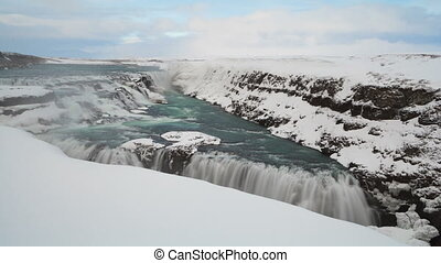 Timelapse of waterfall Gullfoss in Iceland, wintertime