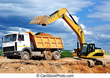 grävmaskin, ladda, Tippvagn, lastbil