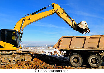 loader excavator and rear-end tipper dumper - Excavator...