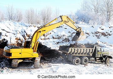 loader excavator and rear-end tipper - Excavator loading...