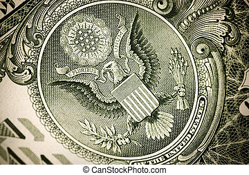 dollar concept - part of dollar, selective focus on eagle,...
