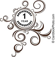 Vintage anniversary 1 year unusual round floral emblem....