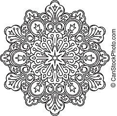 decorativo, flor, encaje, estilo, -, elemento, estilizado,...