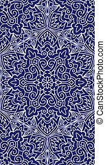 Seamless Abstract Tribal Pattern. Hand Drawn Ethnic Texture. Vector Illustration In Dark Blue tones.