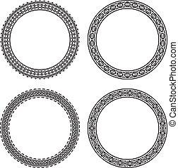 Set of 4 elegant round frames. Vector illustration.