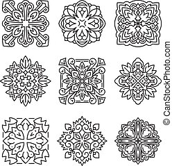 Set of 25 various design elements (crown, lightning, rays, flower, etc.) into a mono-line style on aged background. Vector illustration for logo design, tattoo and other.