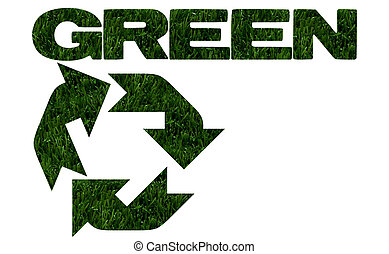 Environment friendly - The recycling symbol in green grass...