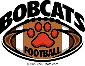 bobcats football team design with paw print inside ball for...