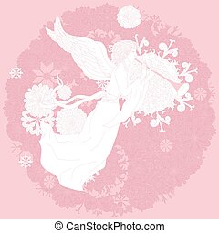 Angel on orient floral ornament