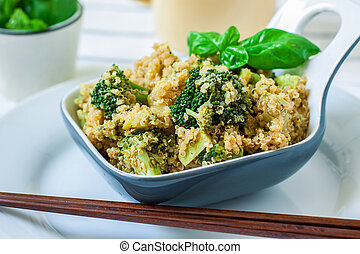 Healtht vegan food - quinoa with broccoli courgette and...