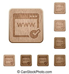 Domain registration wooden buttons - Set of carved wooden...
