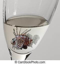lionfish and drinking glass - a lionfish swimming in a...