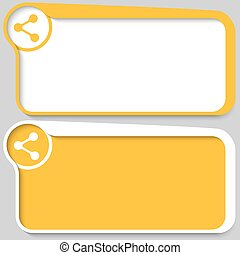 Two yellow vector text boxes and share icon