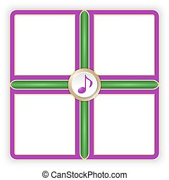 Vector purple frames for your text and music symbol