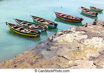 Fisher boats in Pedra Lume harbor in Sal Islands - Cape...