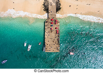 Aerial view of Santa Maria beach pontoon in Sal Island Cape...
